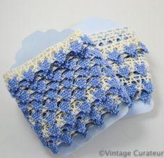Vintage Blue Ivory Crochet Lace Trim