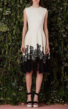 Floral Guipure Lace Hem Dress by Lela Rose