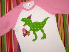 Girl's Dinosaur T-Rex Birthday Shirt by wigglesandgiggles1 on Etsy