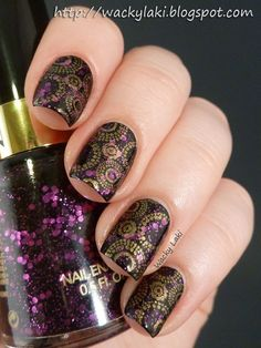 """Revlon Facets of Fuchsia (over black). I stamped using KleanColor Metallic Yellow and Cheeky Jumbo plate """"B""""."""