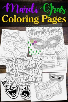 Hi, guys! I hope you liked my last post about celebrating Mardi Gras wherever you happen to live, and to help you get into the spirit I created six fun printable coloring pages for you! (Also, I've been in bed with the flu for a week so I haven't been able to work on some of the fun stuff I've got planned to post about. :( ) Some of the designs are simple enough for kids, but I made some of them more complex as Adult Coloring Pages, so both kids and parents alike can have fun with them.
