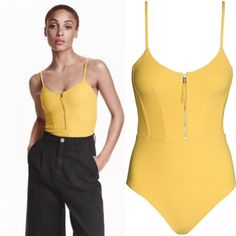 Zip Front Swimsuit BNWOT Brand new, never worn from current collection at H&M. Fully lined swimsuit in textured jersey with skinny shoulder straps and a zip at front. Grosgrain ribbon pull zip tab.  90% nylon, 10% spandex. Machine wash warm. Only selling because I cannot return due to H&M's policy on no returns for swim/lingerie. H&M Swim One Pieces