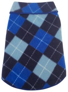Cozy  Argyle Plaid Fleece Pullover Tank in color Blue    Wide Rollover Collared Sleeveless Tank Dress in classic and timeless argyle pattern