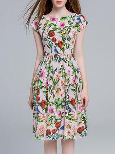 Silk Vintage Short Sleeve Midi Dress - StyleWe.com