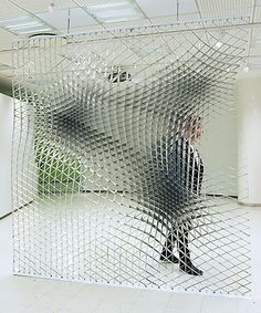 Sheer Wall by Jesse Pietila The geometry surface is computer generated. 2-Dimensional Cartesian grid is pulled down by three dimensional surface. New grid follows non-Euclidean geometry and the functional basis for the Sheer wall has been created.  via http://bit.ly/1CJqsm8