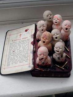 Cunni Outsider Art - maybe with other doll parts coming out of the wax? Halloween Doll, Holidays Halloween, Halloween Crafts, Halloween Decorations, Spooky Decor, Altered Tins, Altered Art, Creepy Baby Dolls, Creepy Art