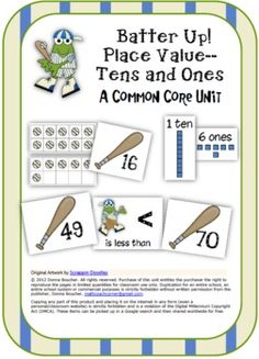 Adorable baseball-themed frogs decorate this set of 8 different common core place value workstations. Includes 4 reproducibles to accompany the work station activities.
