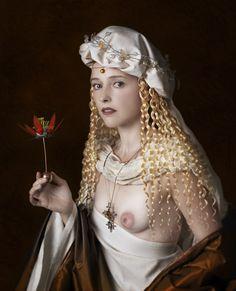 """The Look: Mariano Vargas' """"Retrato De Dama Con Una Flor"""" inspired by """"Portrait of a Woman"""" by Bartolomeo Veneto"""