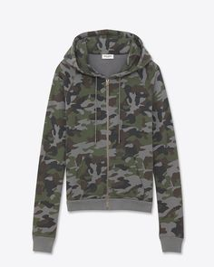 SAINT LAURENT CLASSIC HOODED ZIP SWEATSHIRT IN GREY AND KHAKI CAMOUFLAGE PRINTED FRENCH TERRYCLOTH  $ 890.00