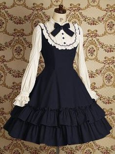 Blue Long Sleeves Lace Cotton Lolita Dress Lolita Clothing.  Hehehe ^^ This is such a cute little dress...