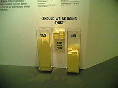November   2004   Magical Nihilism Massive Change Exhibtion-Vancouver Art Gallery. Visitors vote on a variety of social issues.