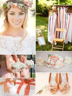peach Hochzeit Inspiration Brautfrisur Schuhe Hochzeitsdeko 2014 Romantische Pastellfarben Hochzeit Inspiration