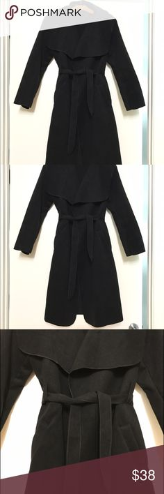 Long Fleece Overcoat! 😎 Super chic! Long, black trench type Fleece Overcoat! Perfect for cooler days.  Looks beautiful when tied at waist but also great when left open and flowing. Tag says L but fits size small. Worn only once! Jackets & Coats Trench Coats