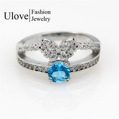 Find More Rings Information about 2015 New Women's Jewlery Butterfly Rings Fashion Silver Engagement Size 8 Blue Sapphire Bague Femme Classic Wedding Ring Y2708,High Quality ring water,China ring bluetooth Suppliers, Cheap ring fingertip from ULOVE Fashion Jewelry on Aliexpress.com