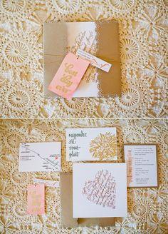 heart-designed wedding invitations / photo by birdsofafeatherphoto.com