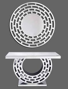 Links circular mirror and links mirrored console table