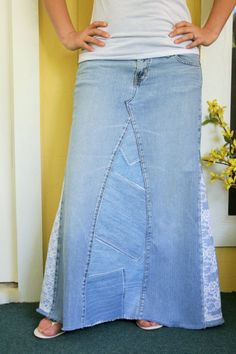 Long Jean Skirt Denim and Lace Patchwork Style With Lace