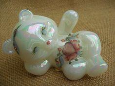 Opalescent  Fenton Glass Reclining Bear Figurine by MyPalPeppy