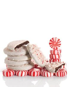 Peppermint-flavored chocolate cookies are coated in white chocolate and sprinkled with crushed candy canes for this Christmas treat. The decorated cookies are best served (and eaten! Holiday Cookies, Holiday Treats, Christmas Treats, Christmas Chocolate, Holiday Baking, Christmas Baking, Christmas Holidays, Christmas Parties, Merry Christmas