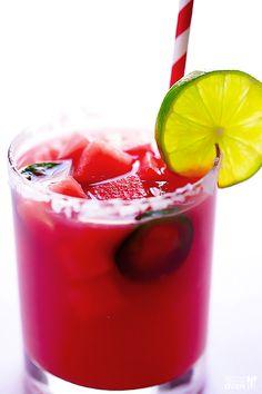 Jalapeno Watermelon Margaritas Recipe | gimmesomeoven.com