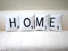 Items similar to Four Appliqued Letter Cushions on Etsy Scrabble, Letter Cushion, Bed Pillows, Cushions, Home Goods, Pillow Cases, Lettering, Crafty, Creative