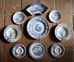 Set of 9 Vintage Blue & White China Mix n Match Blue Chinoiserie Toile English Transferware Plates Instant Wall Display