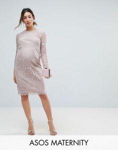 5ef9b8c2405a4b ASOS Maternity Lace Long Sleeve Midi Pencil Dress Long Sleeve Maternity  Dress, Maternity Bridesmaid Dresses