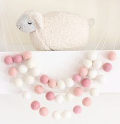 Pink Birthday Garland- Party Decor- Ombre Pink Felt Ball Garland-Pom Pom Bunting- Baby Shower Decor- Pink Decoration-Ballet Bedroom -Pastel