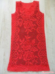Коралловое платье, филейная техника