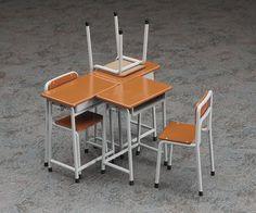 Amazon   1/12 フィギュアアクセサリーシリーズ 学校の 机と椅子 プラモデル FA01   フィギュア・ドール 通販