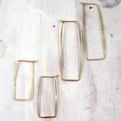 Simple Gold Rectangle Hoop Earrring by failjewelry on Etsy