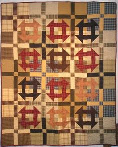 Lincoln's Platform (aka Monkey Wrench, Churn Dash) quilt by Jan Patek. Homespun fabrics by Jan Patek. This quilt has a four-patch behind each block. Primitive Quilts, Antique Quilts, Vintage Quilts, Strip Quilts, Scrappy Quilts, Quilt Blocks, Churn Dash Quilt, Plaid Quilt, Civil War Quilts