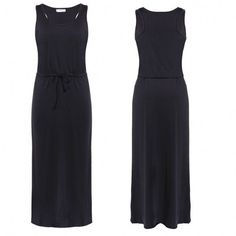 Lady Womens Sleeveless O-Neck Drawstring Waist Maxi Tank Dress