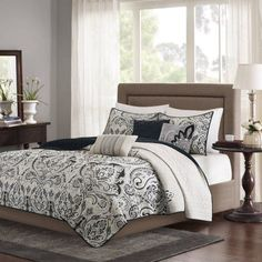 Home Essence Leona Quilted Coverlet Set, Black