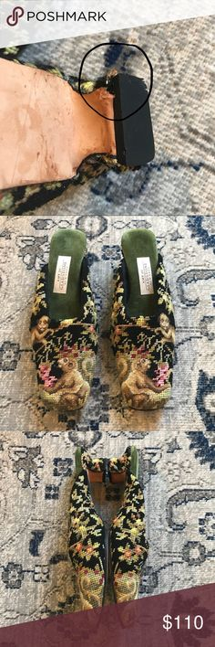 AMY JOE GLADSTONE- Rare Money Needlepoint Slippers Made in USA!! GUC; these slippers are fantastic. Very hard print to find. Hard sole and leather bottoms. Have been used but have tons of love left to give. C'est Chic! Please see pictures; as there are a few flaws;I have marked up where they are.A stitch is a tad loose on the bottom of left heel but is hard to capture. You cannot tell the flaws upon wearing. Please ask questions prior to purchase and leaving a <5* review. Make an offer. I…