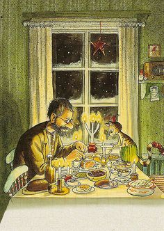 One of the most beautiful christmas drawings I know, by swedish illustrator Sven Nordqvist. Art And Illustration, Christmas Illustration, Swedish Christmas, Winter Christmas, Vintage Christmas, Christmas Books, All Nature, Christmas Inspiration, Cat Art