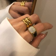 Chunky Rings, Chunky Jewelry, Cute Jewelry, Gold Jewelry, Jewellery, Gold Band Ring, Gold Rings, Ring Ring, Pearl Ring