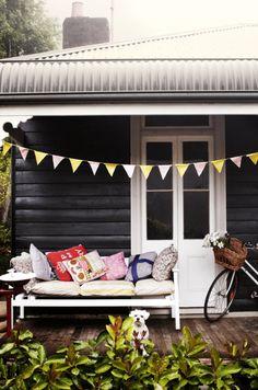 black exterior with white trim, wood flooring My dream cottage colours Interior Exterior, Exterior Colors, Exterior Paint, Black Exterior, Interior Design, Interior Decorating, Outdoor Spaces, Outdoor Living, Outdoor Decor