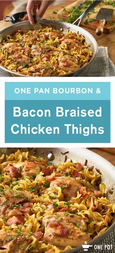 Everything's better with bacon, and even better with bourbon—and this recipe for One Pan Bourbon and Bacon Braised Chicken Thighs is no exception! These 2 ingredients perfectly enhance our Campbell's Onion Soup for a chicken dish that's flavorful, delicious, and super easy. Plus, noodles cook right in the sauce to soak up all of that wonderful flavor.