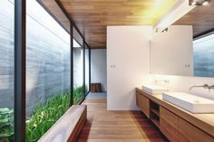 Modern Villa Design With Chinese Garden Philosophy -- love how ceiling material used outside as well. Not sure how you maintain the garden there -- sliding doors? Design Villa Moderne, Modern Villa Design, House Farm, Conception Villa, Modern Courtyard, Exterior Wall Light, Patio Interior, Bathroom Interior, Apartment Interior