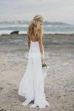 Spaghetti Straps Lace Bare Back Chiffon Sexy Beach Wedding Dress