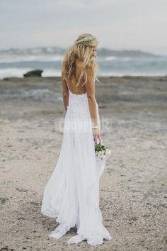 Spaghetti Straps Lace Bare Back Chiffon Sexy Beach Wedding Dress