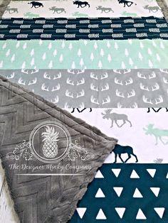Elch-Baby-Decke Designer Faux Quilt Elch von TheDesignerMinkyCo