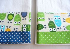 Kitchen towels owls green and blue cotton by SeamlessExpressions
