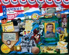 "Original Painting entitled ""Baseball"" - Mixed Media on Canvas - 24"" X 30"""