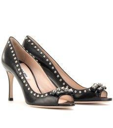 Miu Miu studded leather peep toe pumps....want!!!
