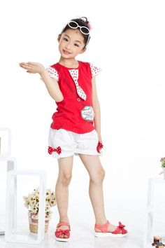 Aliexpress.com : Buy Free Shipping Girls Summer Fashion Suits Navy Style Red Tshirts + Cute White Shorts K0420 from Reliable Flower Girls Summer Suits suppliers on SICIBAY - Kids' Clothing:Selling for Donating