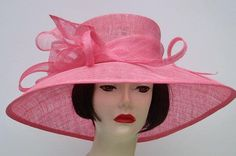 "Hot Pink 6"" Brim Hat for the Oaks Derby Race!"