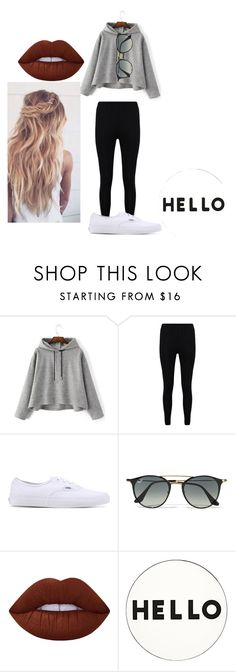 """""""Hello"""" by avery-22 on Polyvore featuring Boohoo, Vans, Ray-Ban, Lime Crime and Lisa Perry"""