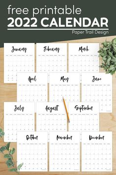 This free printable 2022 vertical calendar is both simple and elegant in black and white with it's cursive months. Free Printable Calendar Templates, Printable Planner Pages, Printable Wall Art, Free Printables, Paper Trail, Happy Birthday Banners, Weekly Planner, Cursive, Planners